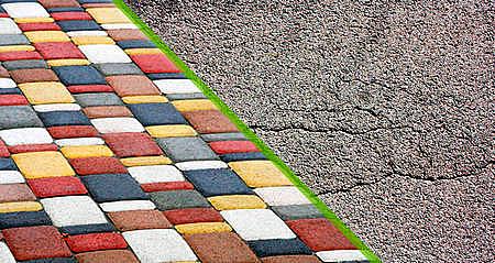 тротуарная плитка и асфальт